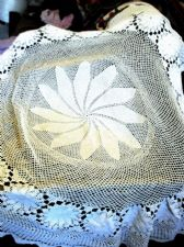 "GENUINE VINTAGE WHITE LACY HAND CROCHET COTTON TABLECLOTH 64"" DIA FLOWER CENTRE"